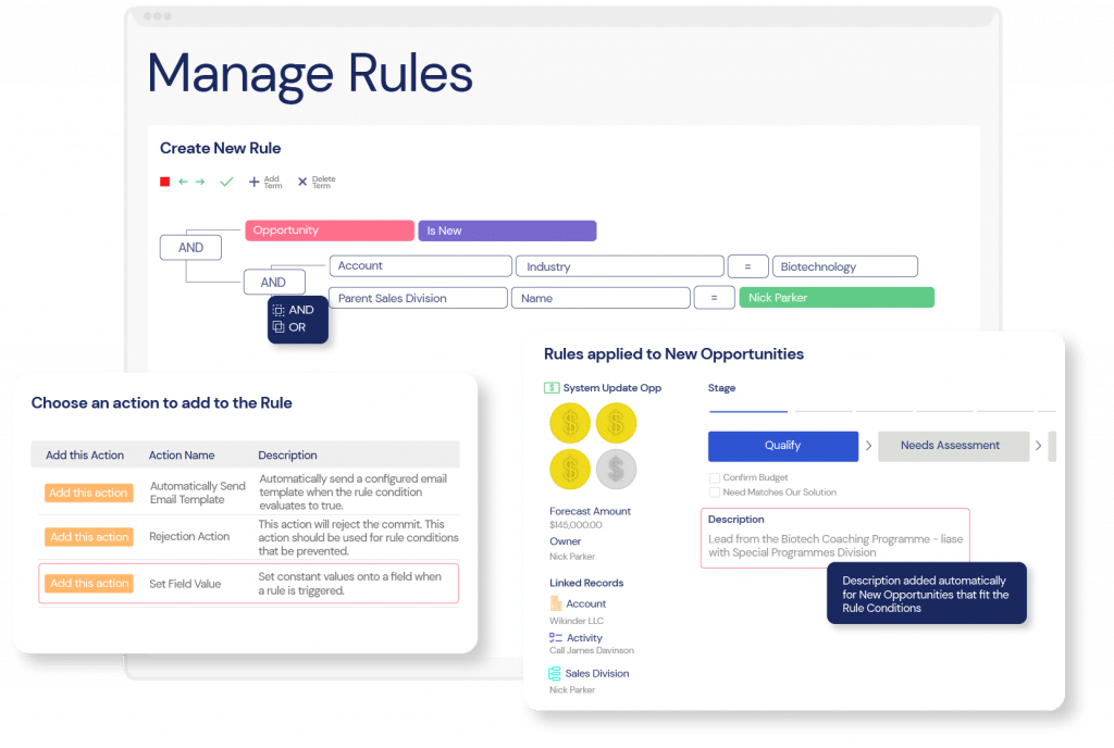 A screenshot of Veloxity CRM lead management showing how to easily configure no-code rule automation.