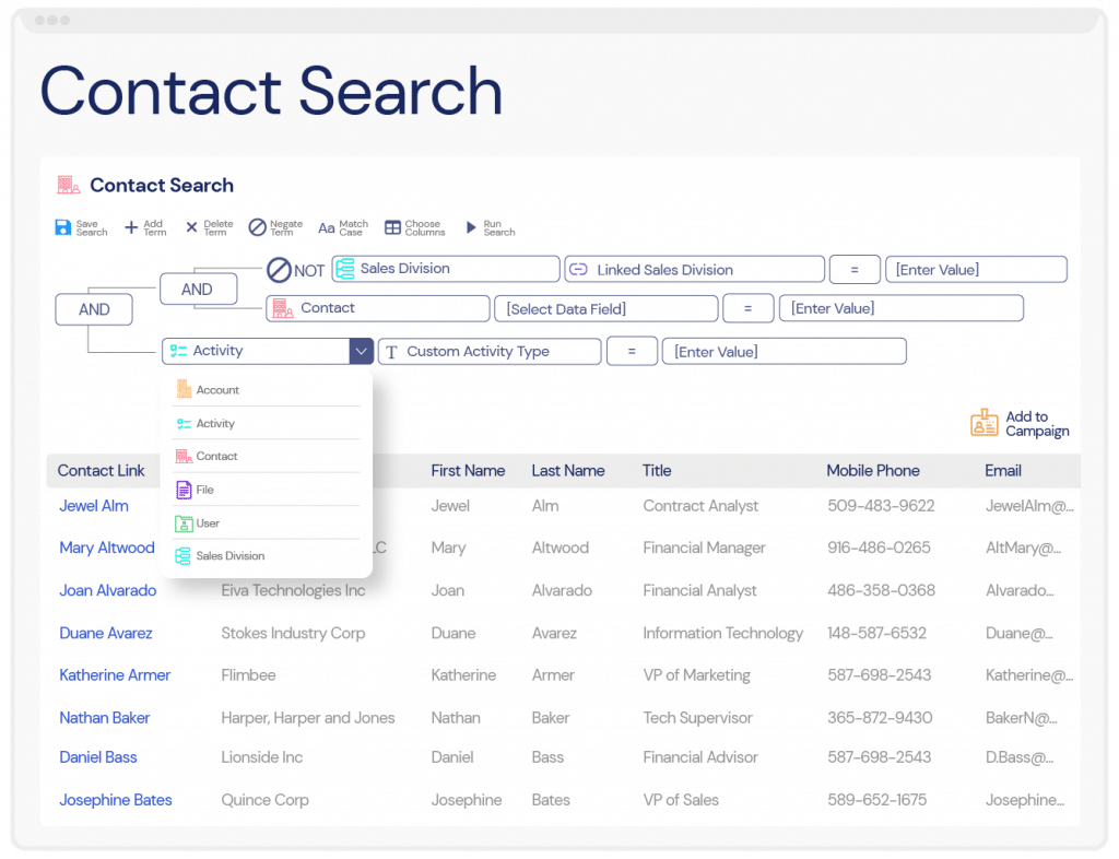 Performing a focused search for Contacts within Veloxity CRM for consulting firms.