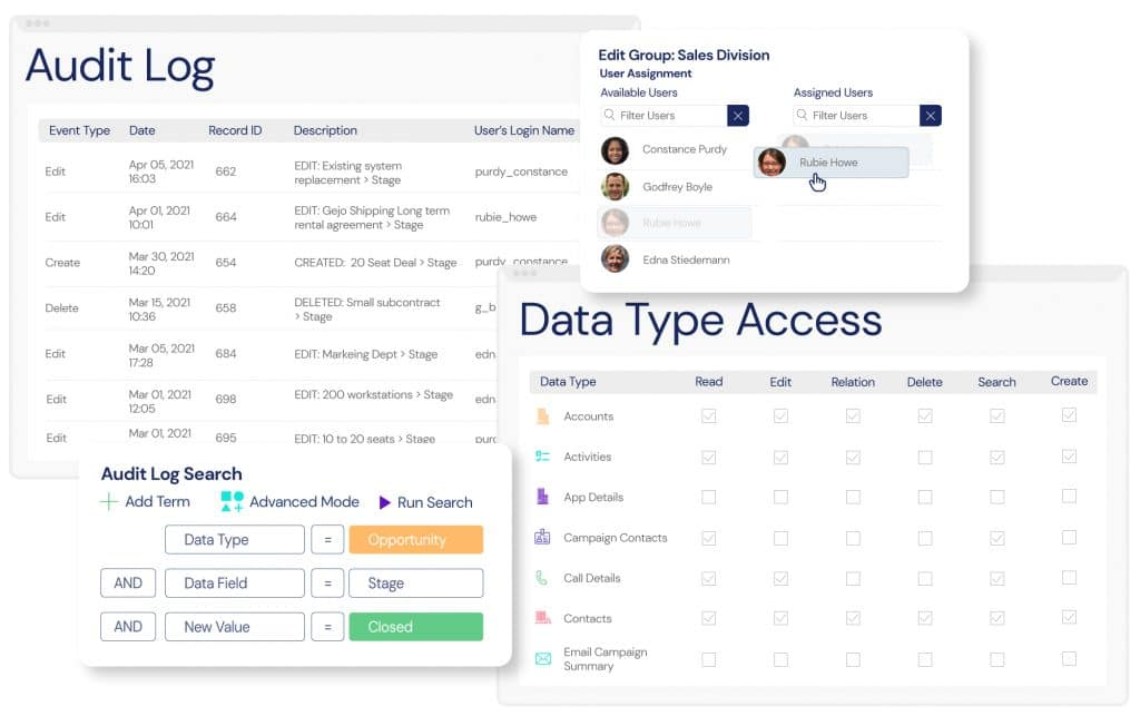 Screenshot of the Audit Log and data type access management features available in Veloxity's pharmaceutical CRM.