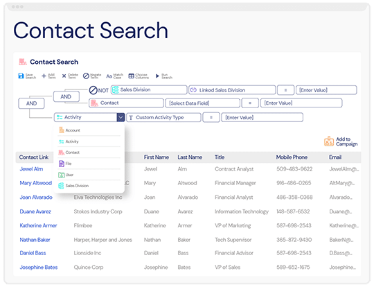 A screenshot of the advanced search features and filters within Veloxity, a new CRM for consulting firms.