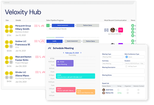 A screenshot of the hub, and various features within Veloxity, a leading new CRM for consulting firms.