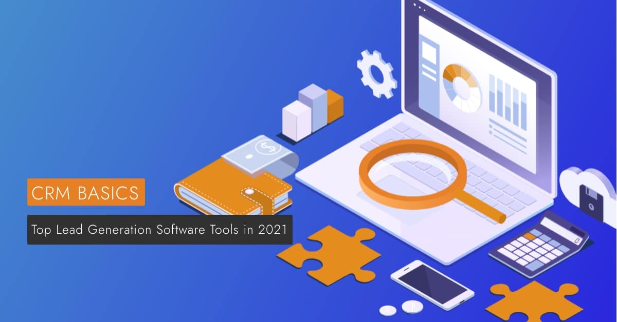 Top Lead Generation Software Tools in 2021 is displayed against a rendered computer.